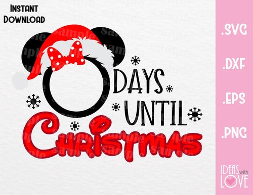 Minnie Disney Christmas Countdown Inspired SVG, EPS, DXF, PNG Format