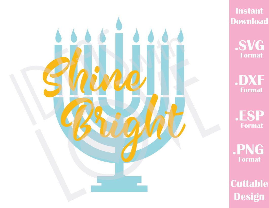 Hanukkah Shine Bright Baby Kids Cutting File in SVG, ESP, DXF and PNG Format for Cricut and Silhouette