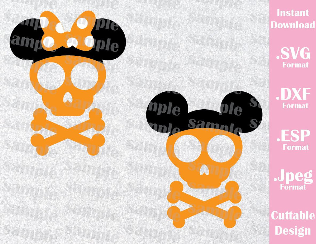Skull Mickey and Minnie Ears Halloween Inspired Cutting File in SVG, EPS, DXF and JPEG Format