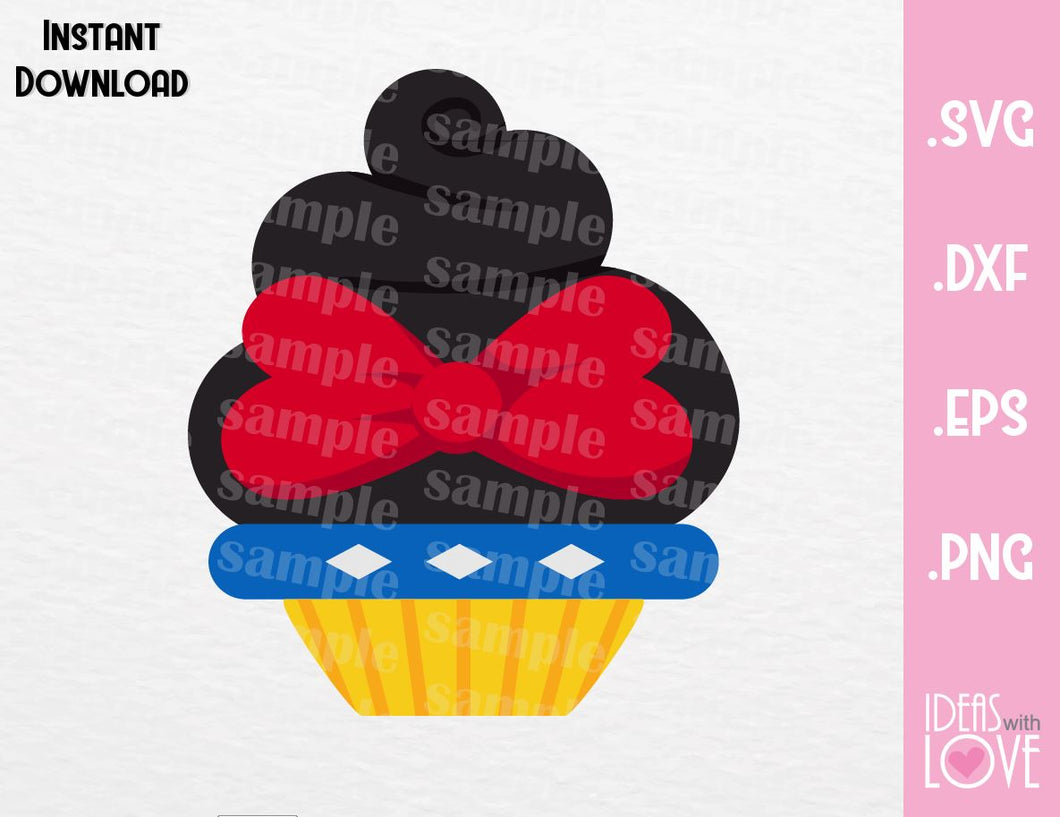 Snow White Princess Cupcake Inspired Cutting File in SVG, EPS, DXF and PNG Format