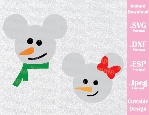 Mickey and Minnie Mouse Ears Snowman Disney Christmas Inspired Cutting File in SVG, ESP, DXF and JPEG Format