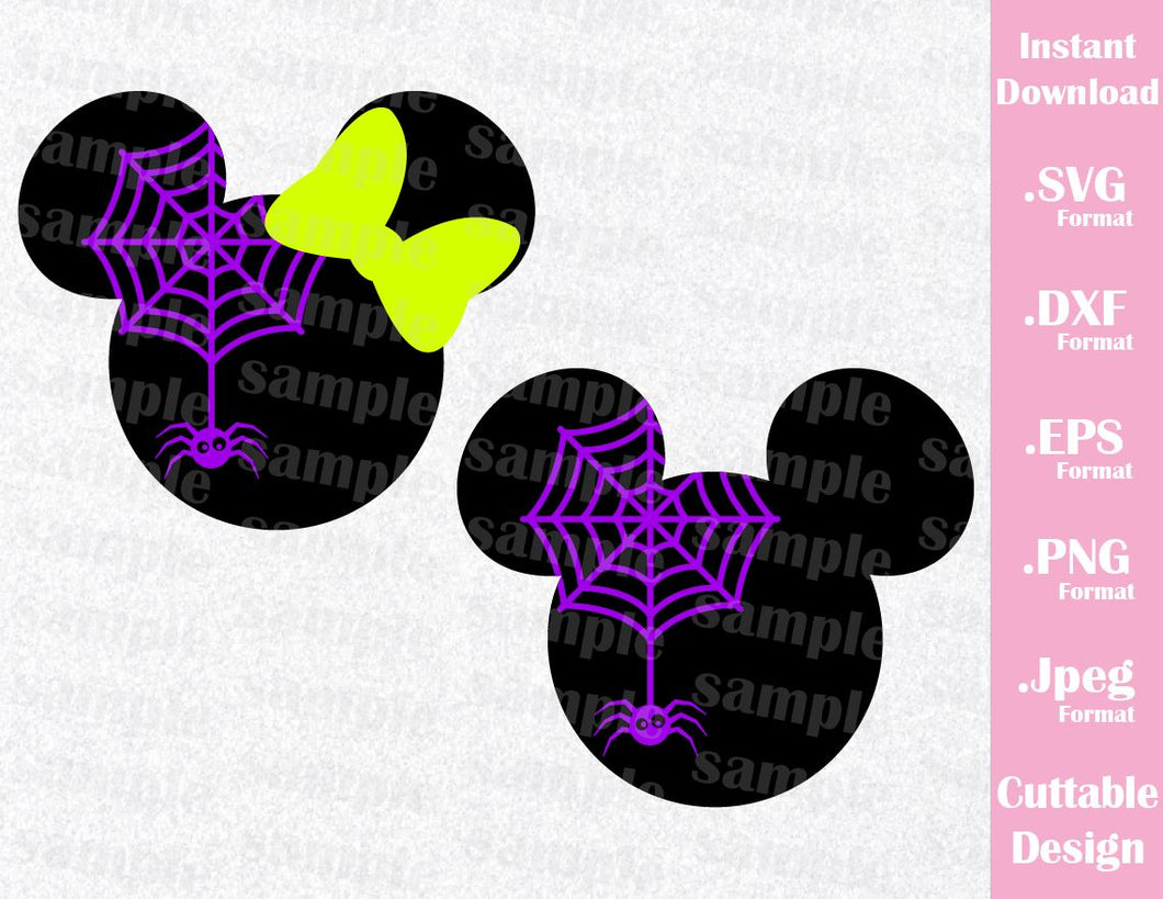 Mickey and Minnie Ears Spider Halloween Inspired Cutting File in SVG, EPS, DXF, PNG and JPEG Format