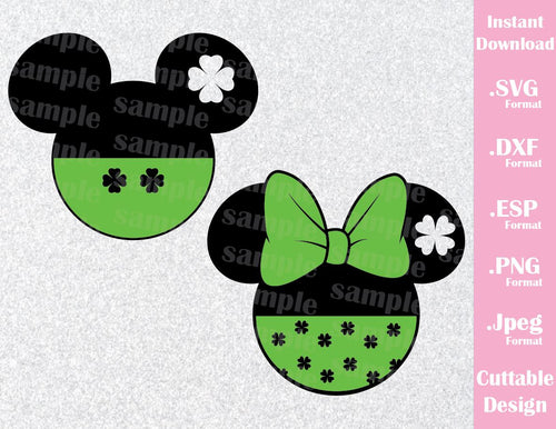 St. Patrick's Day Mickey and Minnie Mouse Ears Disney Inspired Family Vacation Cutting File in SVG, ESP, DXF, PNG and JPEG Format