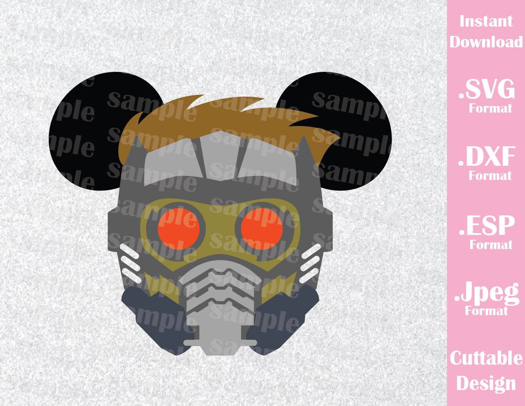 Guardian of the Galaxy Star-Lord Mickey Ears Inspired Cutting File in SVG, ESP, DXF and JPEG Format