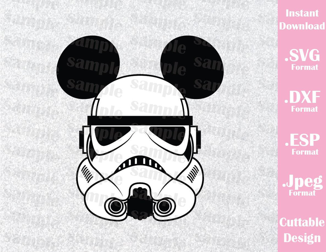 Stormtrooper Mickey Ears Star Wars Inspired Cutting File in SVG, ESP, DXF and JPEG Format