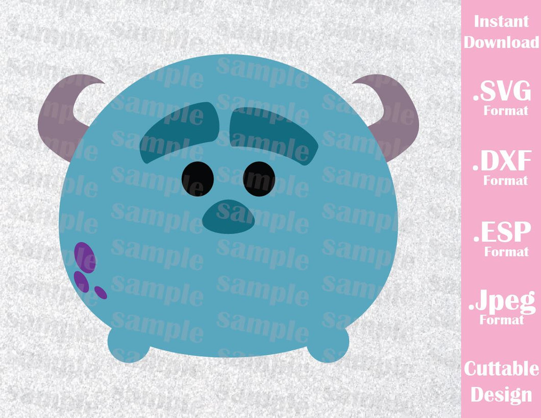 Sulley Monster Inc Inspired Tsum Tsum Cutting File in SVG, ESP, DXF and JPEG Format