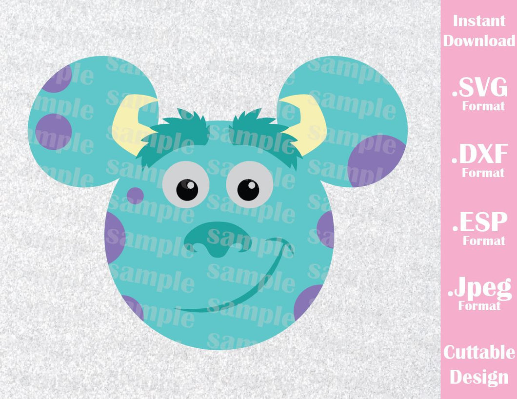 Sulley Mickey Ears Monster Inc Inspired Cutting File in SVG, ESP, DXF and JPEG Format