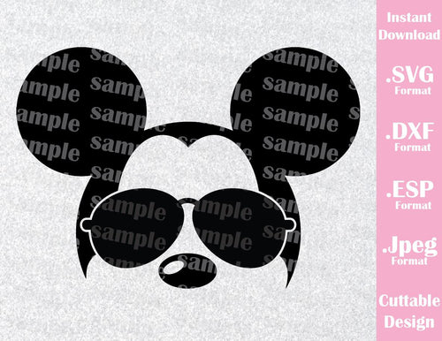 Mickey Mouse Ears Sunglasses Disney Inspired Family Vacation Cutting File in SVG, ESP, DXF and JPEG Format