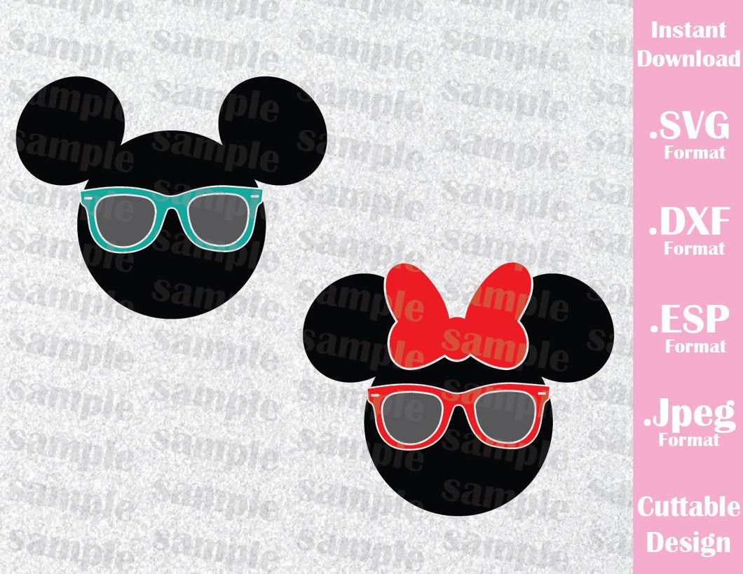 Mickey and Minnie Mouse Sunglasses Disney Inspired Family Vacation Cutting File in SVG, ESP, DXF and JPEG Format