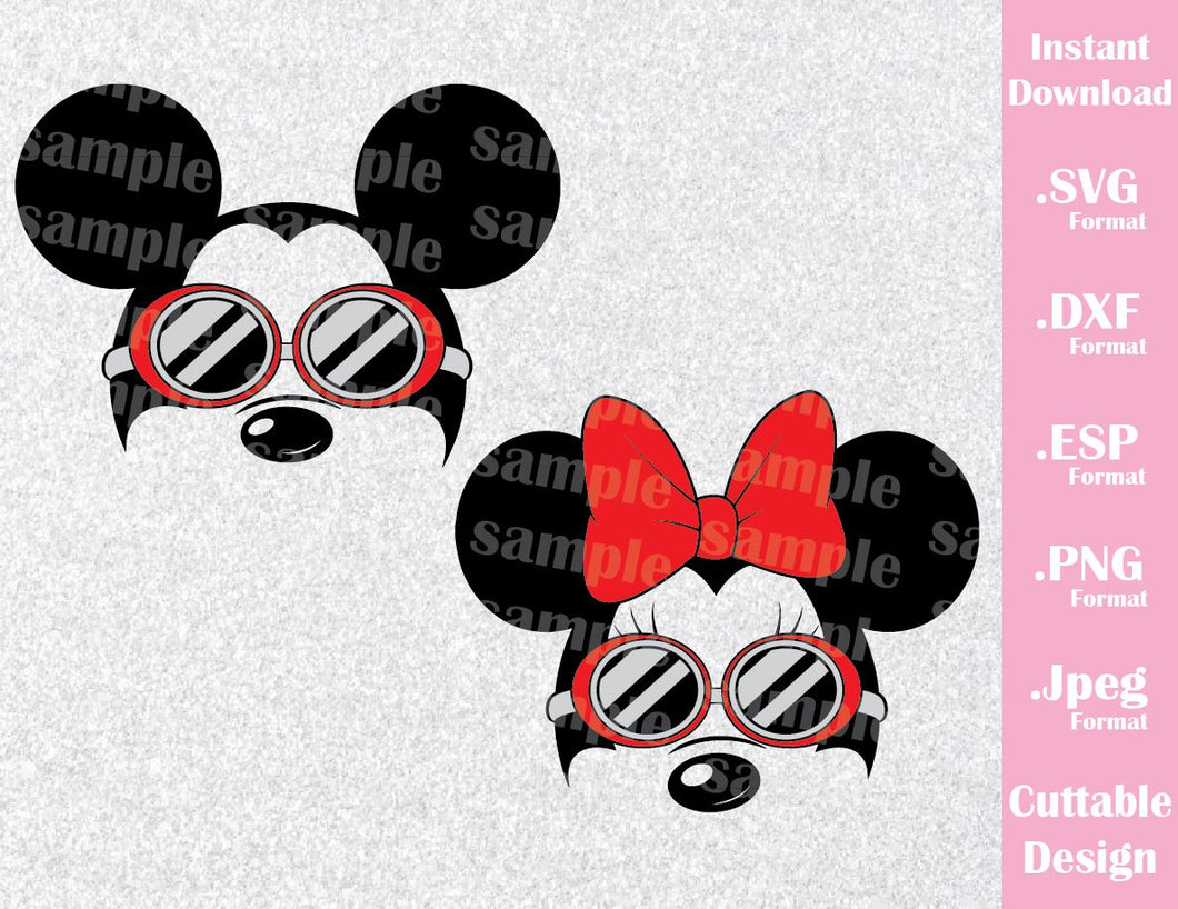Mickey and Minnie Ears with Swimming Goggles Inspired Cutting File in SVG, ESP, DXF, PNG and JPEG Format