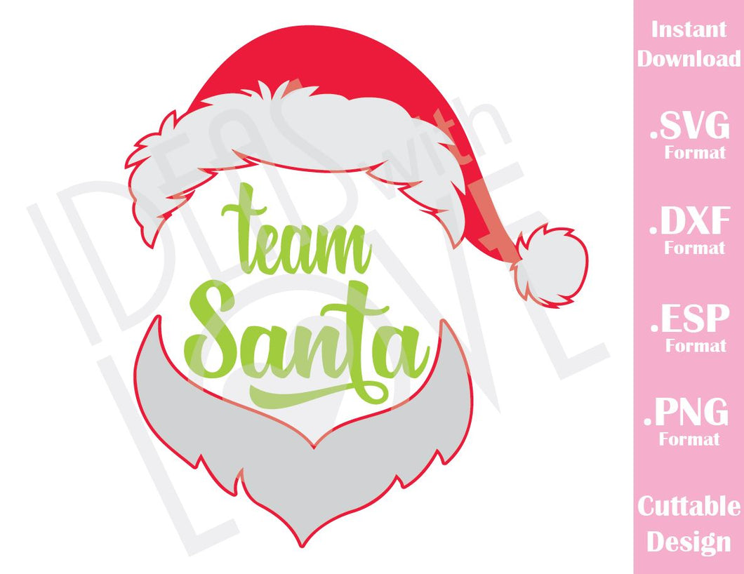 Team Santa Hat Christmas Quote Kids Family Vacation Cutting File in SVG, ESP, DXF and PNG Format for Cricut and Silhouette