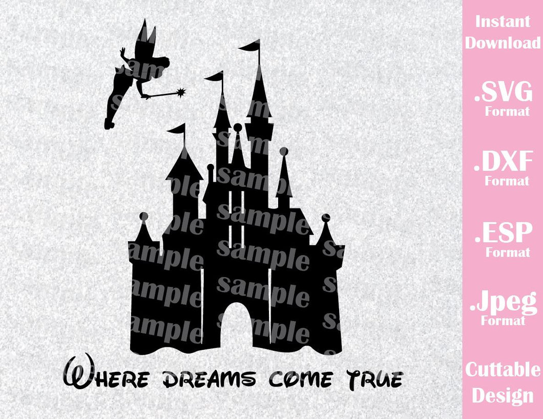 Disney Castle Inspired Tinkerbell Family Vacation Cutting File in SVG, ESP, DXF and JPEG Format