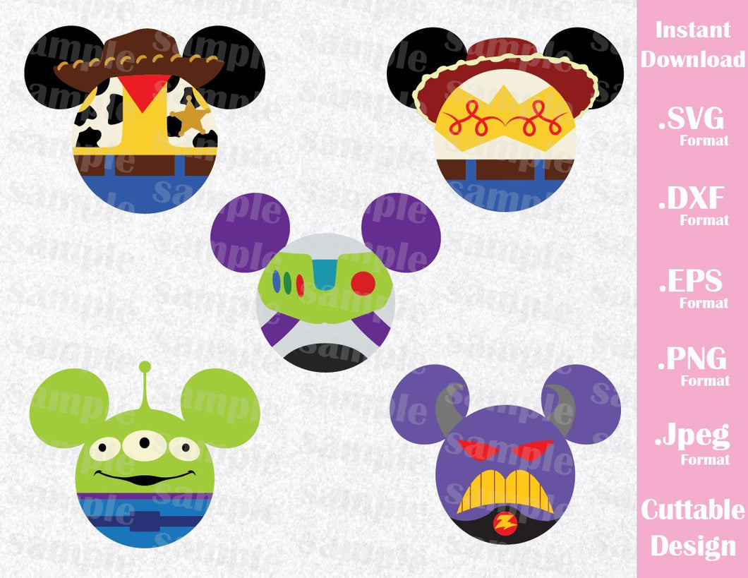 Toy Story Inspired Mickey Ears Bundle Woody, Buzz, Jessie, Alien and Zurg, Cutting File in SVG, ESP, DXF, PNG and JPEG Format