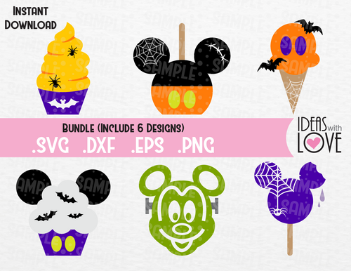 Halloween Mickey Ears Disney Treats Bundle Inspired SVG, EPS, DXF, PNG Format
