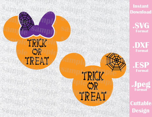 Trick or Treat Mickey and Minnie Ears Halloween Inspired Cutting File in SVG, EPS, DXF and JPEG Format