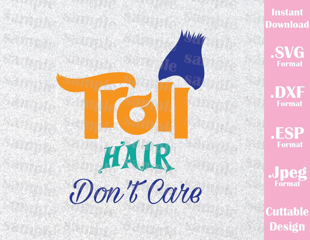 Trolls Hair Don't Care Kids Characters Branch Boys Cutting File in SVG, ESP, DXF and JPEG Format
