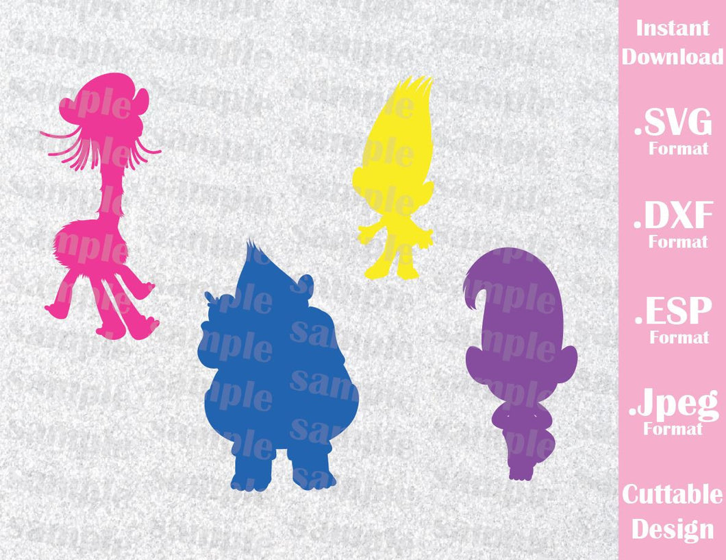 Trolls Movie Kids Characters Cutting File in SVG, ESP, DXF and JPEG Format