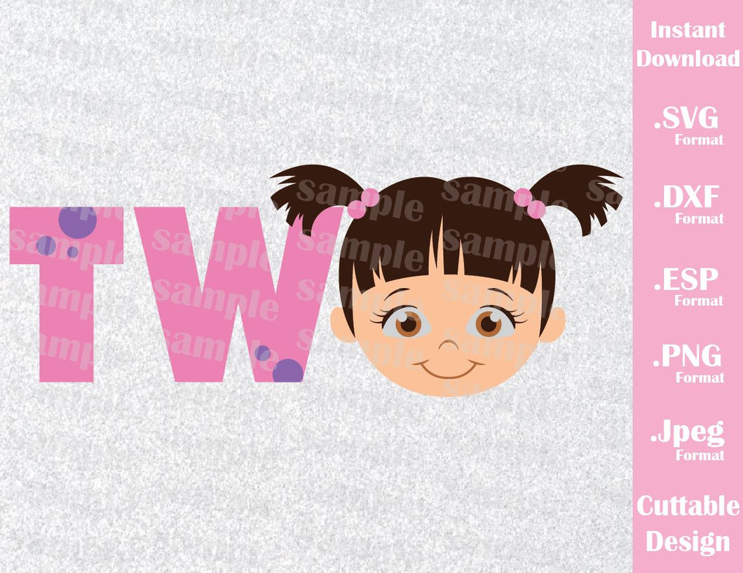 Baby Boo Birthday Girl Two Monster Inc Inspired Cutting File in SVG, ESP, DXF, PNG and JPEG Format