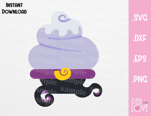 Ursula Cupcake Villain Inspired Cutting Machines File in SVG, EPS, DXF and Png Format