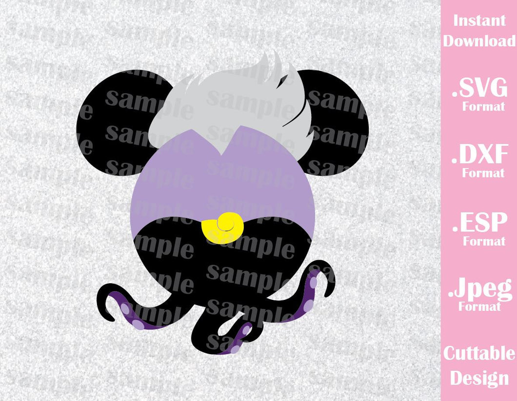Ursula Villains Mickey Ears Disney Inspired from Little Mermaid Cutting File in SVG, ESP, DXF and JPEG Format