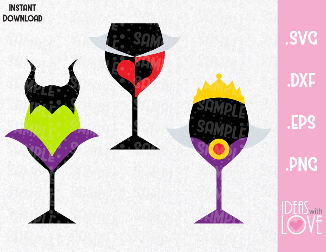 Villains Wine Cup Bundle, Maleficen, Queen of Hearts and Evil Queen Disney Inspired SVG, EPS, DXF, and PNG Formats