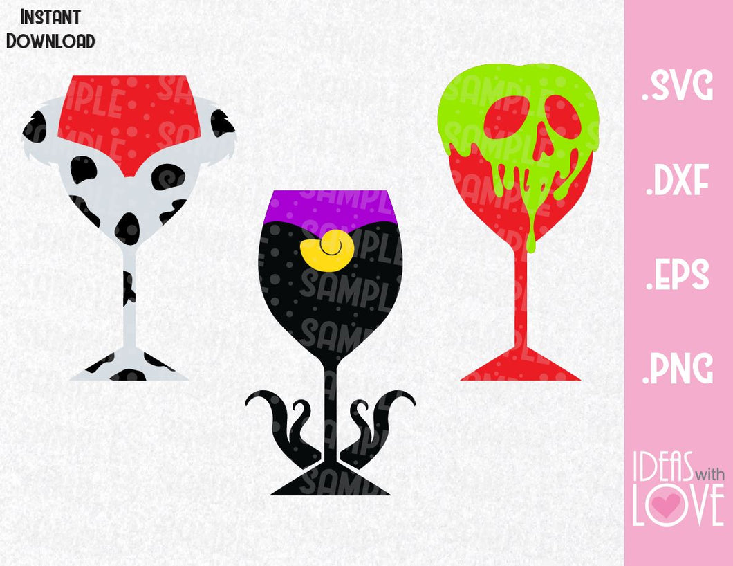 Villains Wine Cup Bundle, Ursula, Cruella and Poison Apple Disney Inspired SVG, EPS, DXF, and PNG Formats