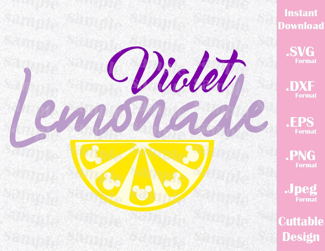 Mickey Ears Violet Lemonade Inspired Cutting File in SVG, ESP, DXF, PNG and JPEG Format