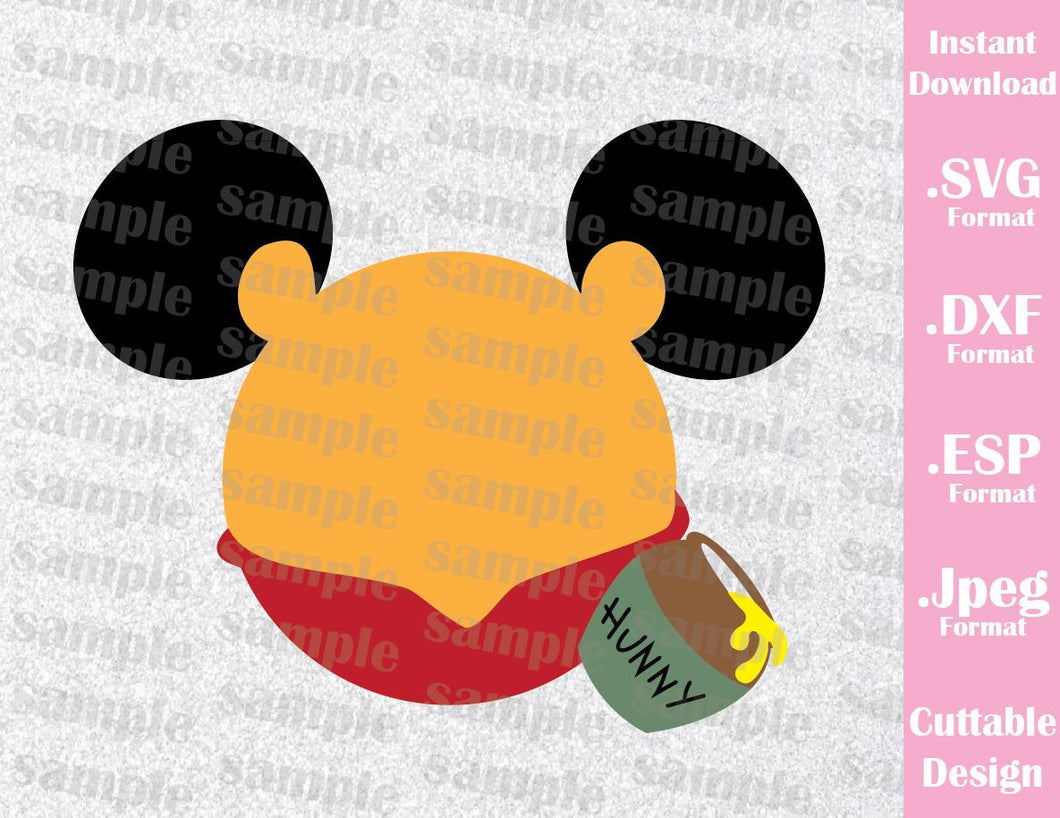 Winnie the Pooh Mickey Ears Inspired Cutting File in SVG, ESP, DXF and JPEG Format