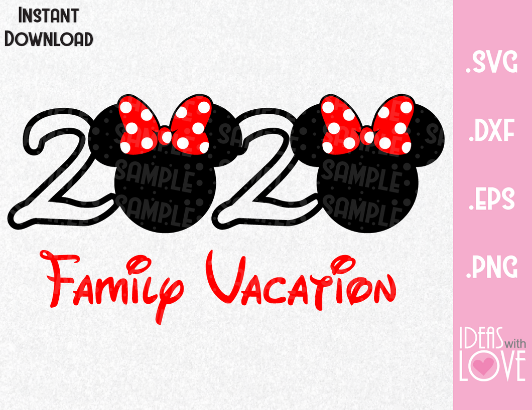 Minnie Ears 2020 Disney Vacation Inspired SVG, EPS, DXF, PNG Format