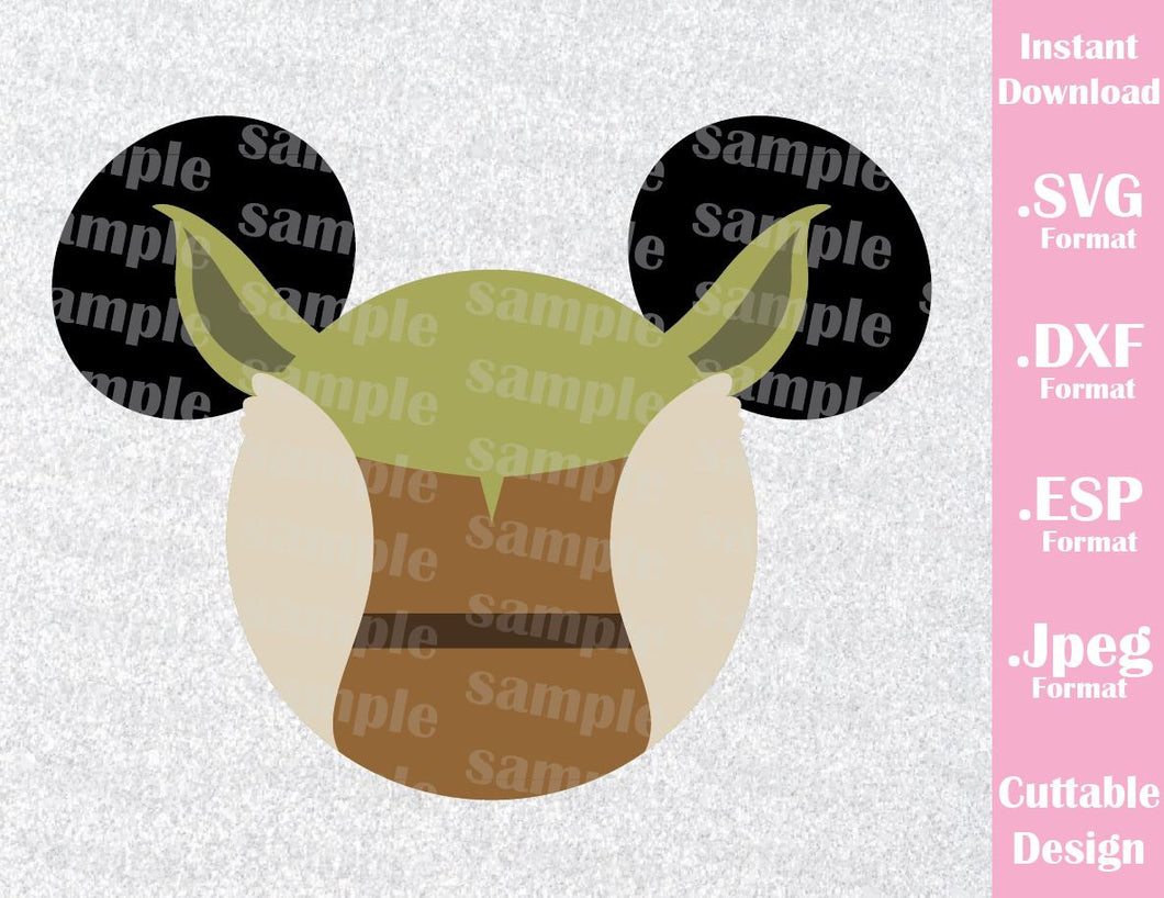 Yoda Mickey Ears Star Wars Inspired Cutting File in SVG, ESP, DXF and JPEG Format