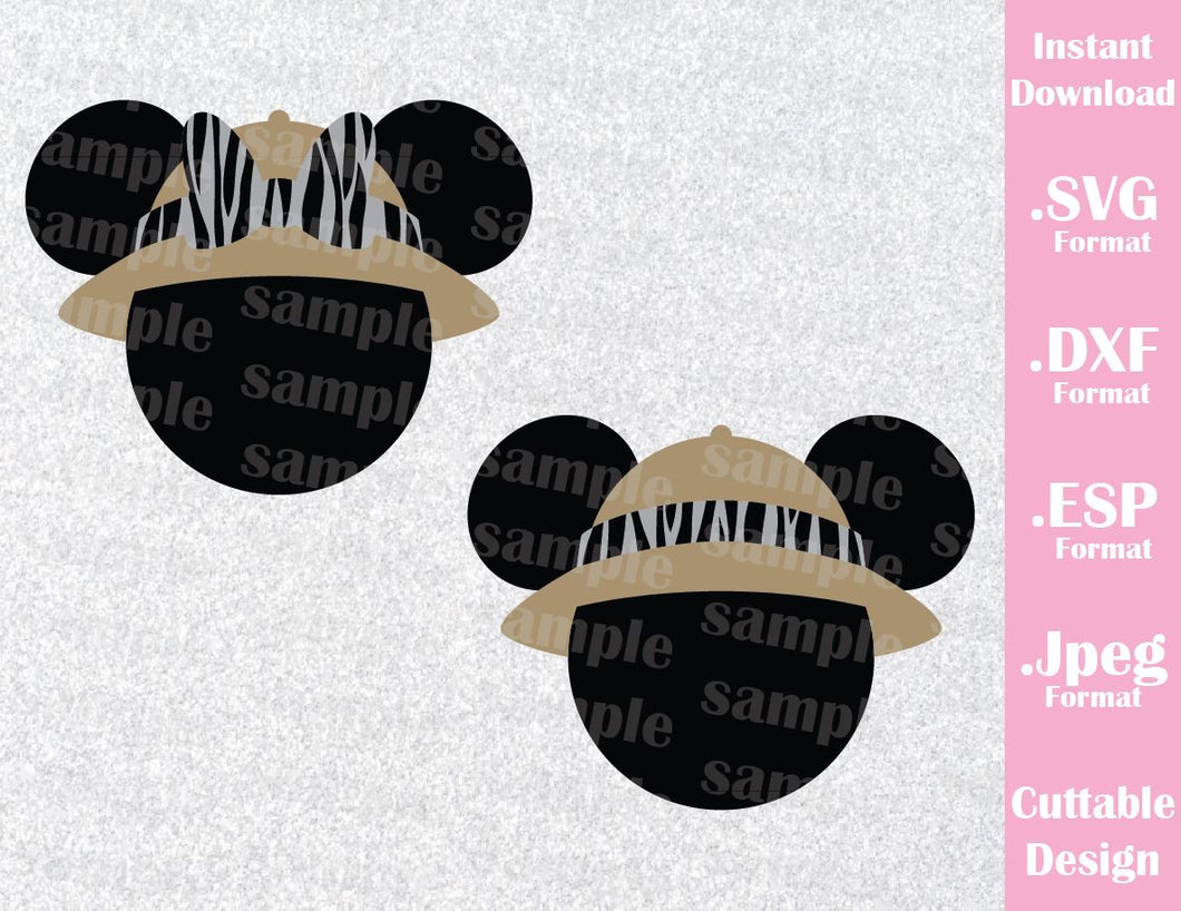 Animal Kingdom Mickey and Minnie Ears Hat Animal Print Inspired Cutting File in SVG, ESP, DXF and JPEG Format