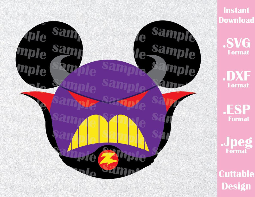 Zurg from Toy Story Mickey Ears Disney Inspired Family Vacation Cutting File in SVG, ESP, DXF and JPEG Format