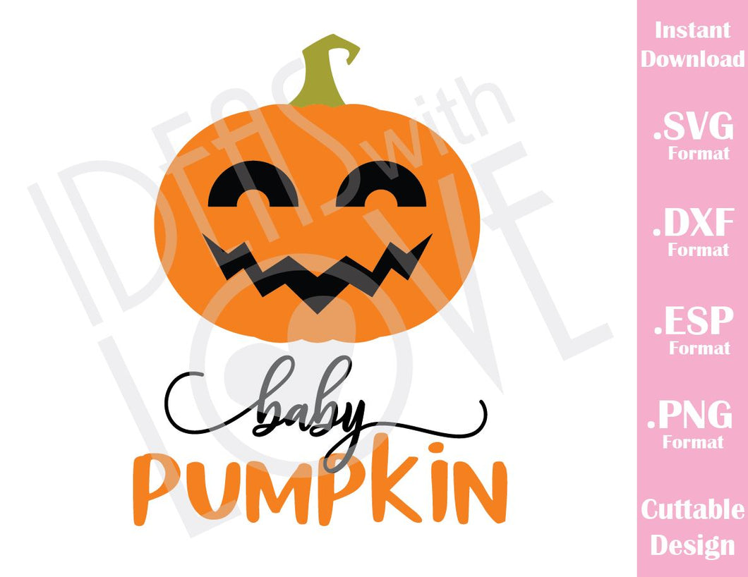 My First Halloween Baby Pumpkin Cutting File in SVG, ESP, DXF and PNG Format for Cricut and Silhouette