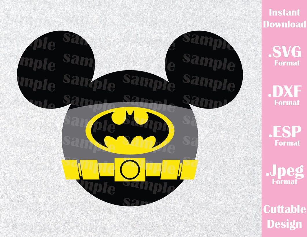 Batman Superhero Mickey Ears Disney Inspired Cutting File in SVG, ESP, DXF and JPEG Format