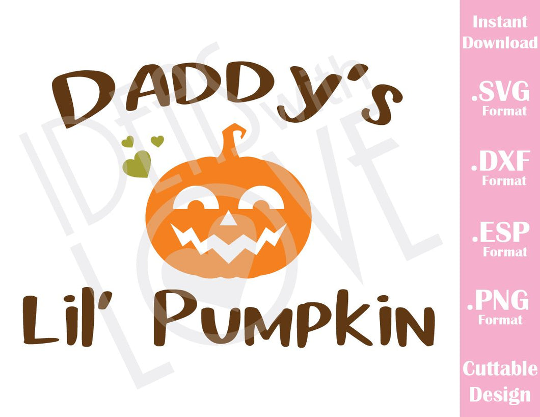 Daddy Little Pumpkin Halloween Baby Kids Cutting File in SVG, ESP, DXF and PNG Format for Cricut and Silhouette