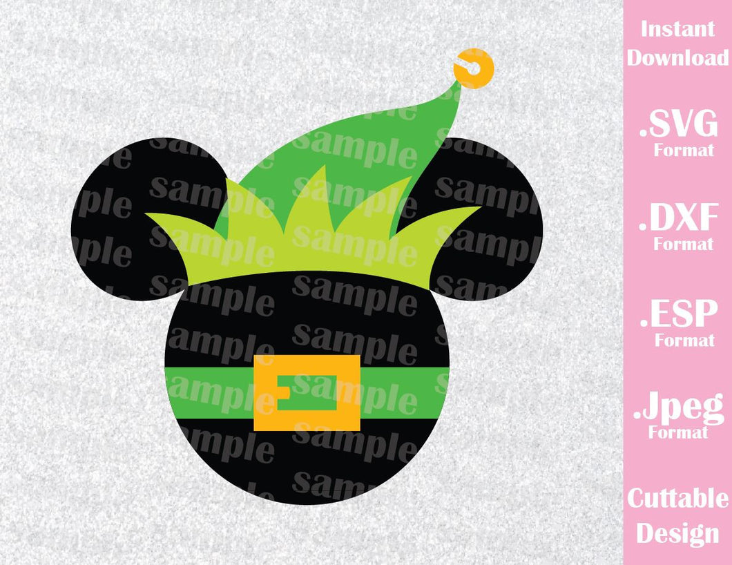 Elf Mickey Mouse Ears Disney Christmas Vacation Inspired Cutting File in SVG, ESP, DXF and JPEG Format
