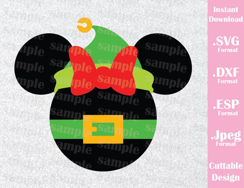 Elf Minnie Mouse Ears Disney Christmas Vacation Inspired Cutting File in SVG, ESP, DXF and JPEG Format