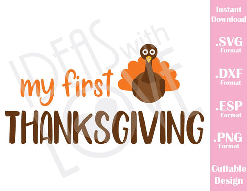 My First thanksgiving Turkey Fall Baby Kids Cutting File in SVG, ESP, DXF and PNG Format for Cricut and Silhouette