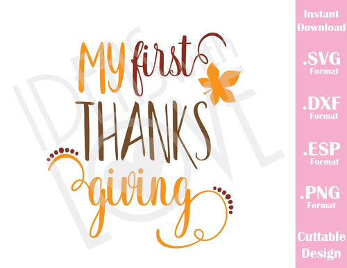 My First thanksgiving Fall Baby Kids Cutting File in SVG, ESP, DXF and PNG Format for Cricut and Silhouette