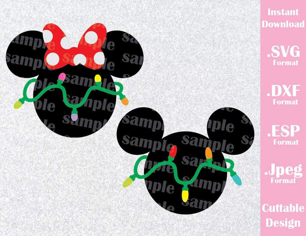 Mickey and Minnie Ears Christmas Inspired Cutting File in SVG, ESP, DXF and JPEG Format
