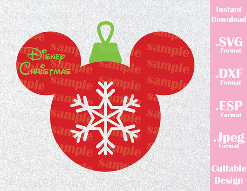 Mickey Mouse Ears Ornament Disney Christmas Vacation Inspired Cutting File in SVG, ESP, DXF and JPEG Format