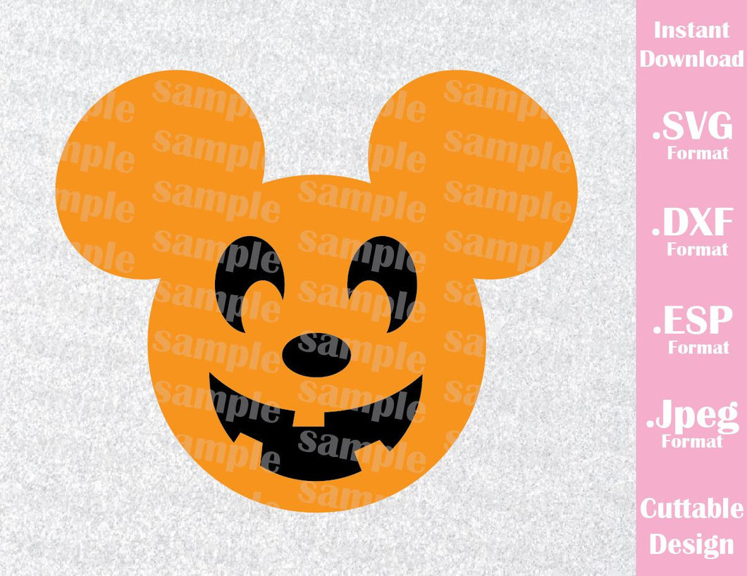 Pumpkin Mickey Mouse Ears Halloween Disney Inspired Cutting File in SVG, ESP, DXF and JPEG Format