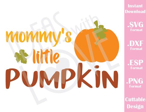 Mommy Little Pumpkin Fall Halloween Baby Kids Cutting File in SVG, ESP, DXF and PNG Format for Cricut and Silhouette