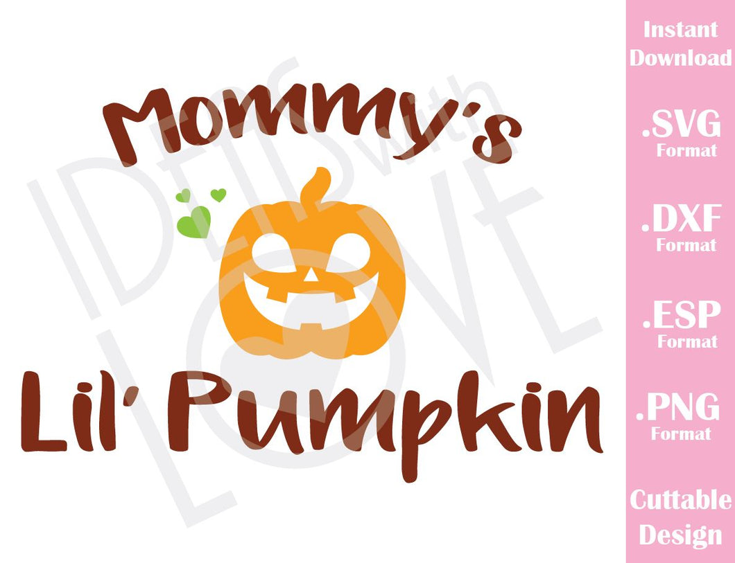 Mommy Little Pumpkin Halloween Baby Kids Cutting File in SVG, ESP, DXF and PNG Format for Cricut and Silhouette