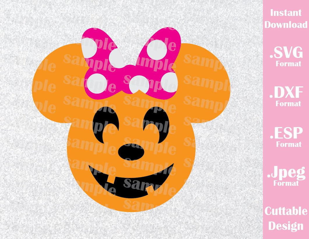 Pumpkin Minnie Ears Halloween Inspired Cutting File in SVG, EPS, DXF and JPEG Format