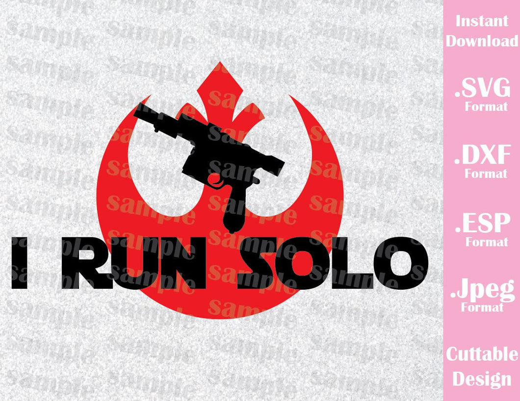 Run Han Solo Star Wars Inspired Cutting File in SVG, ESP, DXF and JPEG Format