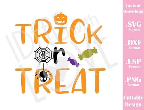 Trick or Treat Halloween Baby Kids Cutting File in SVG, EPS, DXF and PNG Format for Cricut and Silhouette