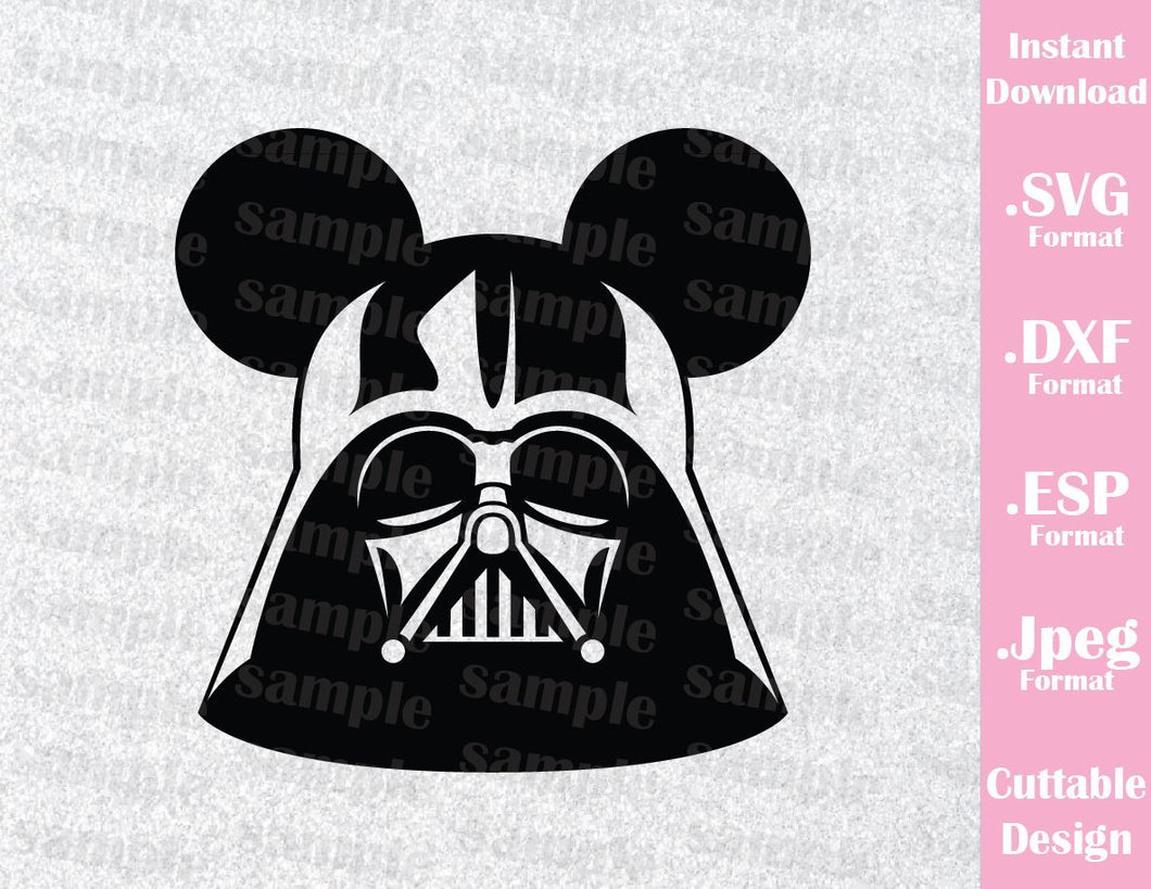 Darth Vader Mickey Ears Star Wars Inspired Cutting File in SVG, ESP, DXF and JPEG Format