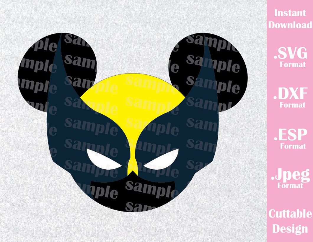 Wolverine Superhero Mickey Ears Disney Inspired Cutting File in SVG, ESP, DXF and JPEG Format
