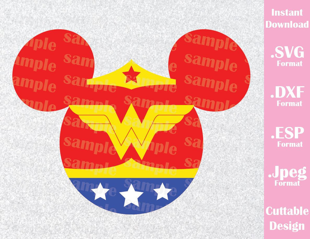 Wonder Woman Superhero Mickey Ears Disney Inspired Cutting File in SVG, ESP, DXF and JPEG Format